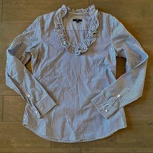 Gap navy & white ruffle neck blouse